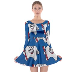 Tooth Long Sleeve Skater Dress by AnjaniArt