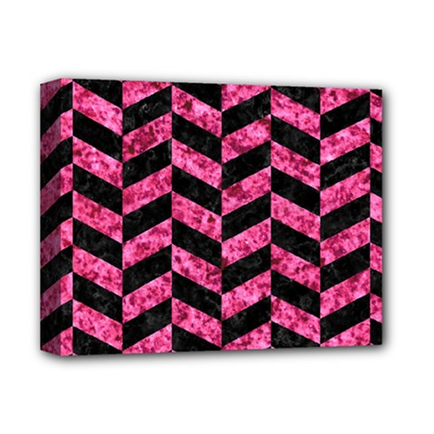Chevron1 Black Marble & Pink Marble Deluxe Canvas 14  X 11  (stretched) by trendistuff