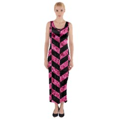 CHV1 BK-PK MARBLE Fitted Maxi Dress