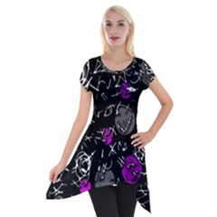 Purple Mind Short Sleeve Side Drop Tunic by Valentinaart