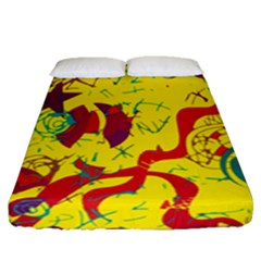 Yellow Confusion Fitted Sheet (queen Size)