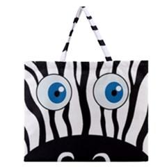 Blue Eye Zebra Zipper Large Tote Bag by Valentinaart