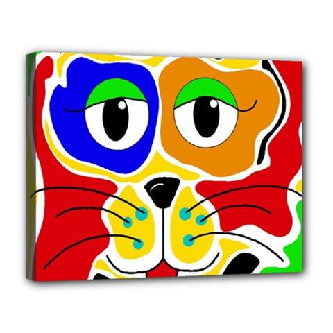 Colorful Cat Canvas 14  X 11  by Valentinaart