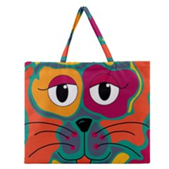 Colorful Cat 2  Zipper Large Tote Bag by Valentinaart