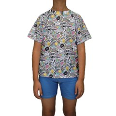 Communication Web Seamless Pattern Kids  Short Sleeve Swimwear by Mishacat