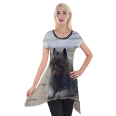 Keeshond On Beach  Short Sleeve Side Drop Tunic by TailWags