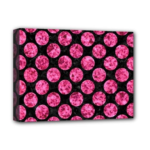 Circles2 Black Marble & Pink Marble Deluxe Canvas 16  X 12  (stretched)  by trendistuff