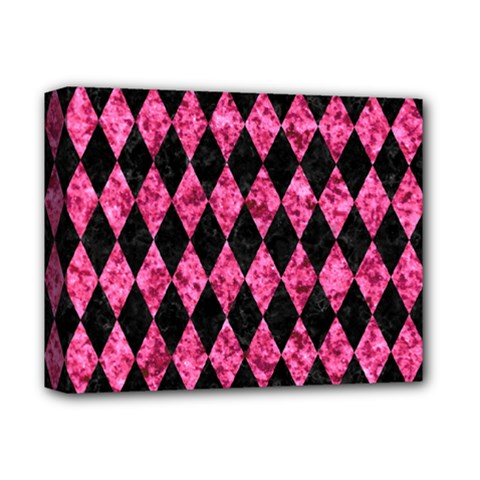 Diamond1 Black Marble & Pink Marble Deluxe Canvas 14  X 11  (stretched) by trendistuff