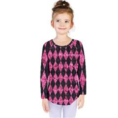 Diamond1 Black Marble & Pink Marble Kids  Long Sleeve Tee by trendistuff