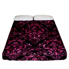 Damask1 Black Marble & Pink Marble Fitted Sheet (queen Size) by trendistuff
