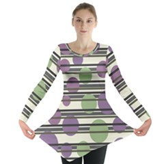 Purple And Green Elegant Pattern Long Sleeve Tunic  by Valentinaart