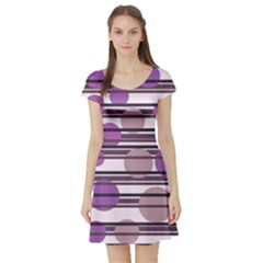 Purple Simple Pattern Short Sleeve Skater Dress by Valentinaart