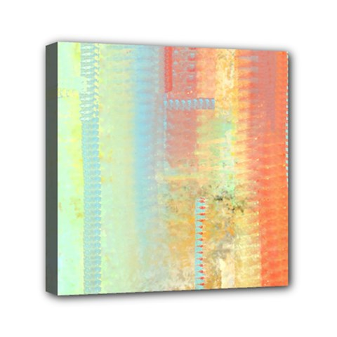 Unique Abstract In Green, Blue, Orange, Gold Mini Canvas 6  X 6  by theunrulyartist