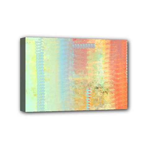 Unique Abstract In Green, Blue, Orange, Gold Mini Canvas 6  X 4  by theunrulyartist