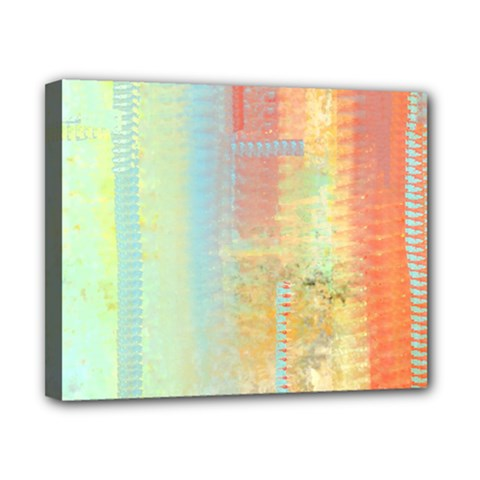 Unique Abstract In Green, Blue, Orange, Gold Canvas 10  X 8  by theunrulyartist