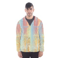 Unique Abstract In Green, Blue, Orange, Gold Hooded Wind Breaker (men) by theunrulyartist