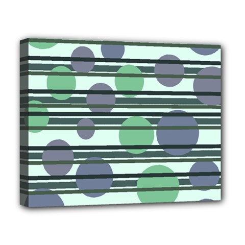 Green Simple Pattern Deluxe Canvas 20  X 16   by Valentinaart