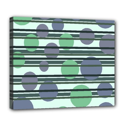 Green Simple Pattern Deluxe Canvas 24  X 20   by Valentinaart