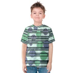 Green Simple Pattern Kids  Cotton Tee by Valentinaart