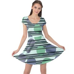 Green Simple Pattern Cap Sleeve Dresses by Valentinaart