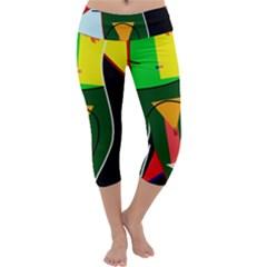 Abstract Lady Capri Yoga Leggings by Valentinaart