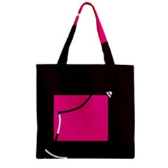 Pink Square  Zipper Grocery Tote Bag by Valentinaart