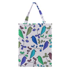 Birds And Flowers   Blue Classic Tote Bag by Valentinaart