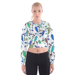 Birds And Flowers   Blue Women s Cropped Sweatshirt by Valentinaart