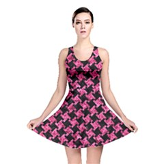 Houndstooth2 Black Marble & Pink Marble Reversible Skater Dress by trendistuff