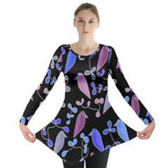 Flowers And Birds   Blue And Purple Long Sleeve Tunic  by Valentinaart