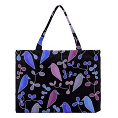 Flowers And Birds   Blue And Purple Medium Tote Bag by Valentinaart