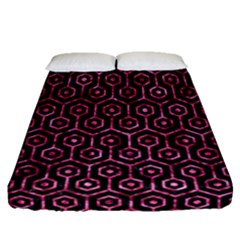 Hexagon1 Black Marble & Pink Marble Fitted Sheet (queen Size)