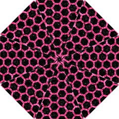 Hexagon2 Black Marble & Pink Marble Hook Handle Umbrella (small) by trendistuff