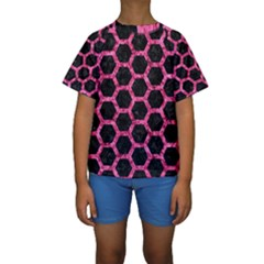HXG2 BK-PK MARBLE Kids  Short Sleeve Swimwear by trendistuff