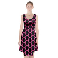 Hexagon2 Black Marble & Pink Marble Racerback Midi Dress by trendistuff