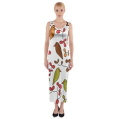 Birds and flowers 3 Fitted Maxi Dress