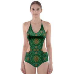 Magic Peacock Night Cut Out One Piece Swimsuit