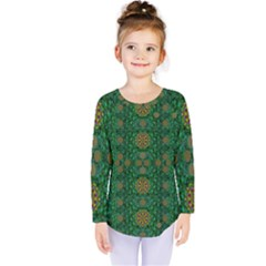 Magic Peacock Night Kids  Long Sleeve Tee