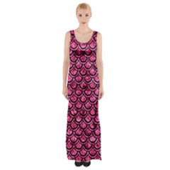 Scales2 Black Marble & Pink Marble (r) Maxi Thigh Split Dress by trendistuff