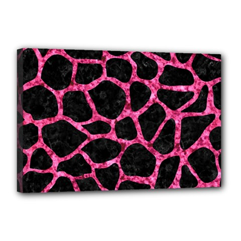 Skin1 Black Marble & Pink Marble (r) Canvas 18  X 12  (stretched) by trendistuff