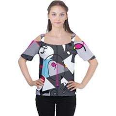 Abstract Bird Women s Cutout Shoulder Tee by Moma