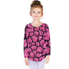 Skin1 Black Marble & Pink Marble Kids  Long Sleeve Tee