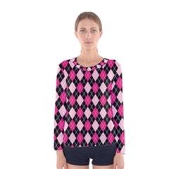 Argyle Pattern Pink Black Women s Long Sleeve Tee by Zeze