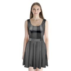 Black Minimalistic Gray Stripes Split Back Mini Dress  by AnjaniArt