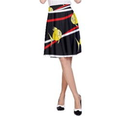 Five Yellow Fish A Line Skirt by Valentinaart