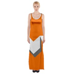 Cute Orange Chevron Maxi Thigh Split Dress by AnjaniArt