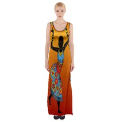 Dancing Maxi Thigh Split Dress by AnjaniArt