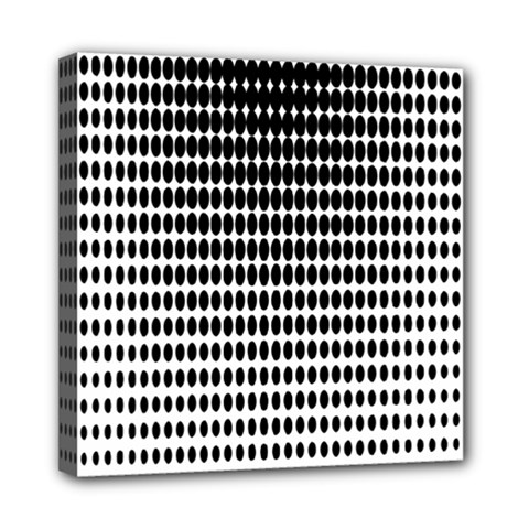 Dark Circles Halftone Black White Copy Mini Canvas 8  X 8  by AnjaniArt