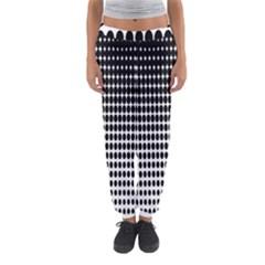 Dark Circles Halftone Black White Copy Women s Jogger Sweatpants by AnjaniArt
