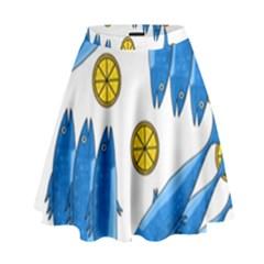 Mackerel Meal 2 High Waist Skirt by Valentinaart